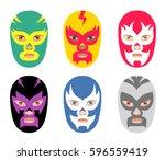 vector wrestler mask set. six... | Shutterstock .eps vector #596559419
