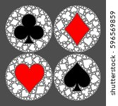 mosaic circle of poker playing... | Shutterstock .eps vector #596569859