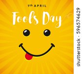 april fools day smile card.... | Shutterstock .eps vector #596574629