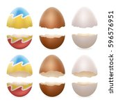 broken eggs cracked open easter ... | Shutterstock .eps vector #596576951