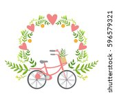 floral frame with hearts vector ... | Shutterstock .eps vector #596579321