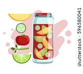 apple  cucumber  tomato and... | Shutterstock .eps vector #596580041