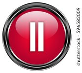 pause button isolated . 3d... | Shutterstock . vector #596582009
