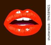 red lips on dark background....   Shutterstock .eps vector #596589821