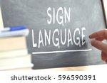 hand writing on a blackboard in ... | Shutterstock . vector #596590391