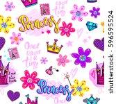 girlish wallpaper with castle ... | Shutterstock .eps vector #596595524
