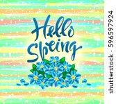 hello  spring. vector hand...   Shutterstock .eps vector #596597924