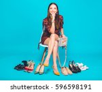 young stylish beautiful woman... | Shutterstock . vector #596598191