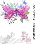 flower watercolor illustration... | Shutterstock . vector #596600729