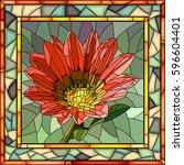vector mosaic of red gazania in ... | Shutterstock .eps vector #596604401