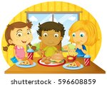 three kids having meal on table ... | Shutterstock .eps vector #596608859