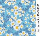 floral seamless pattern with... | Shutterstock .eps vector #596609339