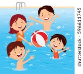 family having fun in swimming... | Shutterstock .eps vector #596611745