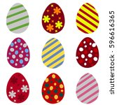 set of colorful easter eggs....   Shutterstock .eps vector #596616365
