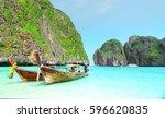 maya bay beach  kra bi province ... | Shutterstock . vector #596620835