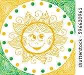 cute cartoon sun. vector... | Shutterstock .eps vector #596620961