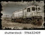old rusty locomotive was sent... | Shutterstock . vector #596632409