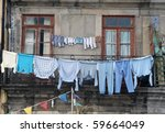 Stock photo washed clothes drying outside of an old house porto portugal 59664049