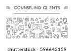 line web banner for counseling... | Shutterstock . vector #596642159