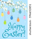 happy easter card with eggs on... | Shutterstock .eps vector #596652851