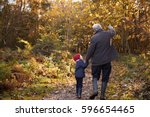 grandfather and granddaughter... | Shutterstock . vector #596654465