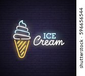 Ice Cream Neon Sign  Bright...