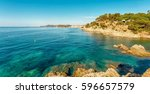 view of the coast in lloret de... | Shutterstock . vector #596657579
