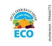 organic food emblem and badge | Shutterstock .eps vector #596666771