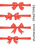 set of red bows and horizontal... | Shutterstock .eps vector #596675981
