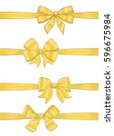 hand drawn golden ribbons bow... | Shutterstock .eps vector #596675984
