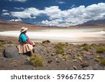 bolivian woman in traditional... | Shutterstock . vector #596676257