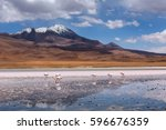 high altitude lagoon with... | Shutterstock . vector #596676359