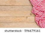 table cloth red covered wood... | Shutterstock . vector #596679161