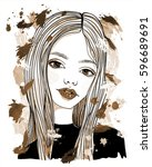 beautiful girl with blond hair. ... | Shutterstock . vector #596689691