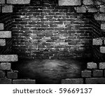 grunge building with large hole | Shutterstock . vector #59669137