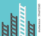 black isometric ladders and a... | Shutterstock .eps vector #596695385