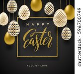 easter vector illustration with ... | Shutterstock .eps vector #596700749