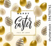 easter vector illustration with ... | Shutterstock .eps vector #596700761