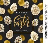 easter vector illustration with ... | Shutterstock .eps vector #596700779