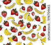 vector pattern set of banana... | Shutterstock .eps vector #596704661