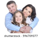 happy young family on a white... | Shutterstock . vector #596709377
