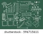 business doodles sketch set  ... | Shutterstock .eps vector #596715611
