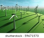 futuristic landscape with wind turbine - stock photo