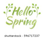 hello spring lettering with... | Shutterstock . vector #596717237
