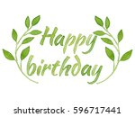 happy birthday lettering with... | Shutterstock . vector #596717441