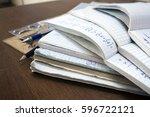 maths concept   stack of... | Shutterstock . vector #596722121