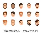 human face set vector... | Shutterstock .eps vector #596724554