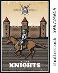 colorful vintage medieval... | Shutterstock .eps vector #596724659