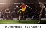 brutal soccer action on 3d... | Shutterstock . vector #596730545