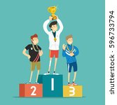 winners on the podium. vector... | Shutterstock .eps vector #596733794